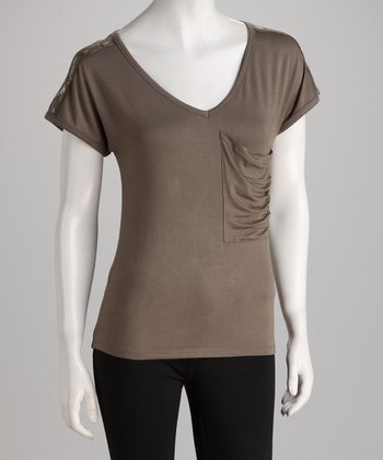 Topin Olive Lace Panel V-Neck Top