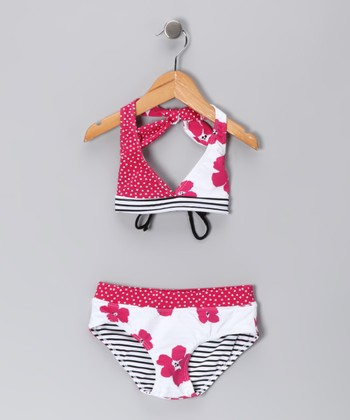 Pink Poppy Stripe Bikini - Toddler & Girls