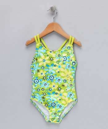 Green Floral One-Piece - Toddler & Girls