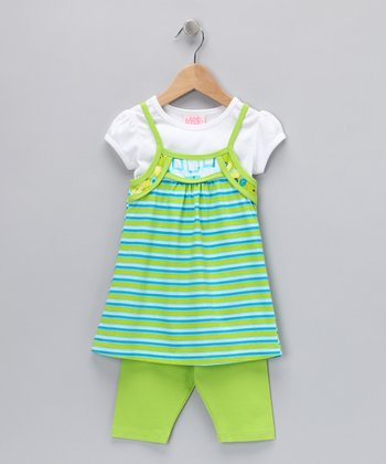 Green Stripe Layered Tunic & Shorts - Toddler & Girls