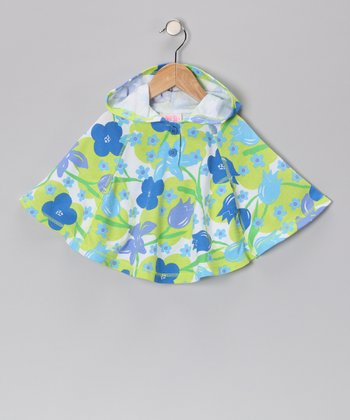 Blue & Green Floral Poncho - Toddler & Girls