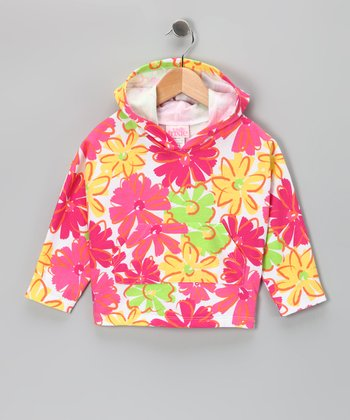 Pink & Yellow Flower Hoodie - Girls