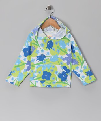 Green & Blue Flower Hoodie - Toddler & Girls