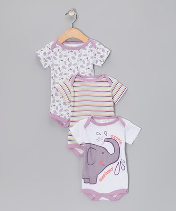 Tots Fifth Avenue Mauve Elephant Bodysuit Set