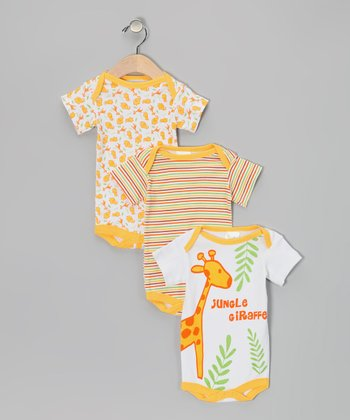 Tots Fifth Avenue Yellow Giraffe Bodysuit Set