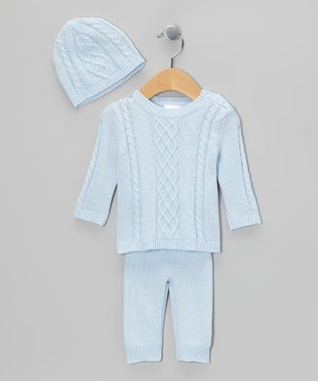 Blue Cable-Knit Sweater Set