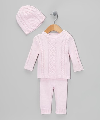 Pink Cable-Knit Sweater Set