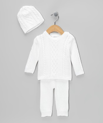 White Cable-Knit Sweater Set - Infant