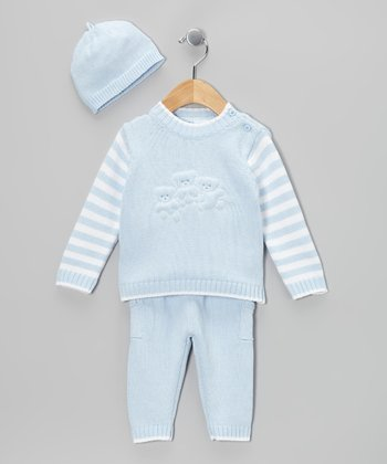 Blue Stripe Knit Sweater Set - Infant
