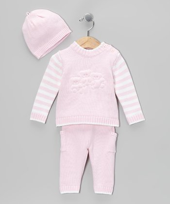 Pink Stripe Knit Sweater Set