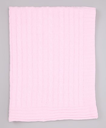 Pink Cable-Knit Receiving Blanket