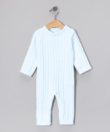 Blue Cable-Knit Playsuit - Infant