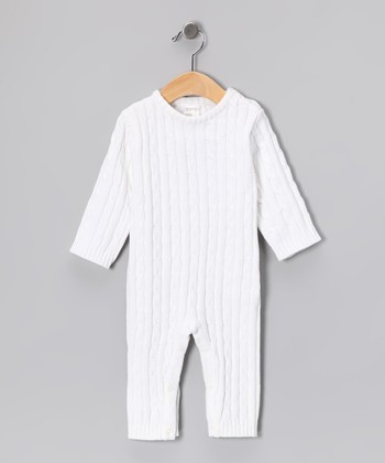 White Cable-Knit Playsuit - Infant