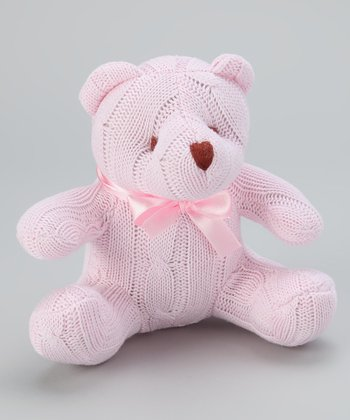 Pink Cable-Knit Plush Bear