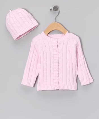 Pink Cable-Knit Cardigan & Beanie