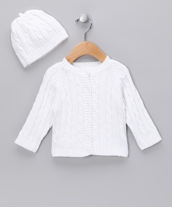 White Cable-Knit Cardigan & Beanie
