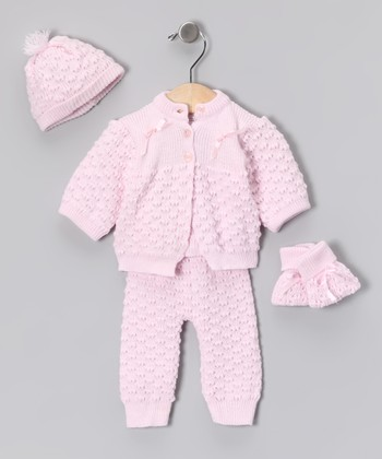 Pink Knit Cardigan Set - Infant