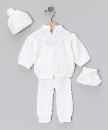 White Knit Cardigan Set