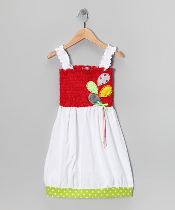 Red & White Shirred Dress - Toddler