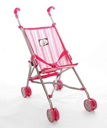 Pink Stripe Umbrella Doll Stroller