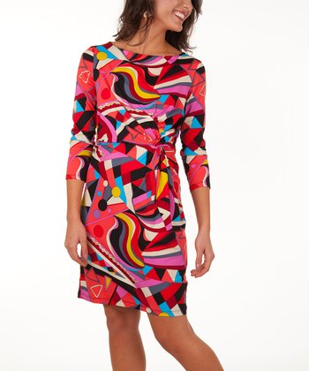 Tracy Negoshian Red Geo Waves Marilyn Dress