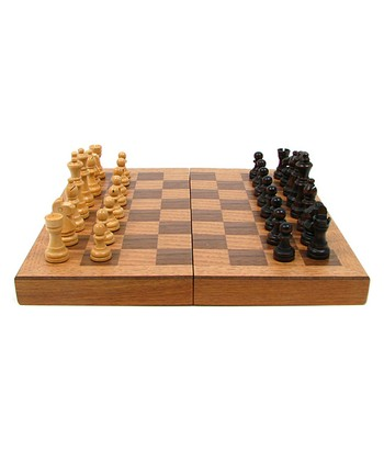 Wooden Book-Style Chess Board & Staunton Chess Pieces