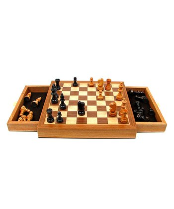 Elegant Inlaid Wood Chess Cabinet & Staunton Chessmen