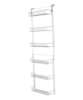 White 5' Over-the-Door Storage Basket Rack