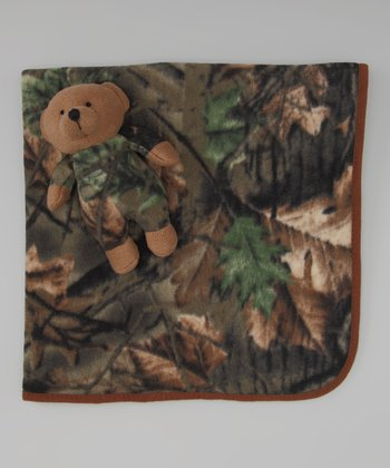 Green Camo Receiving Blanket & Plush Bear