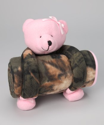 Pink & Olive Camo Teddy Bear Plush Toy & Blanket
