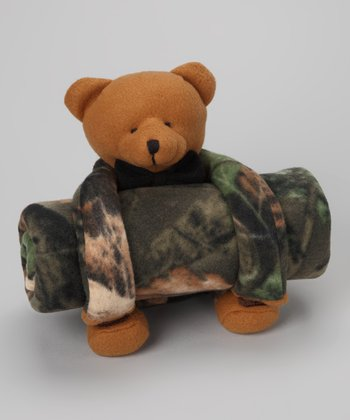 Highland Timber Camo Teddy Bear Plush Toy & Blanket