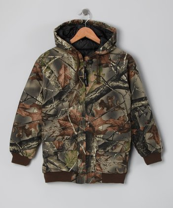 Green Camouflage Insulated Zip-Up Hoodie - Boys