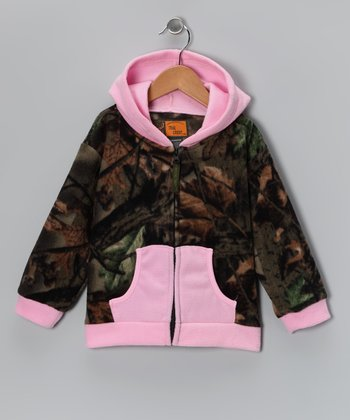 Pink & Camo Fleece Zip-Up Hoodie - Girls