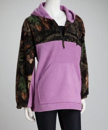 Trail Crest Light Purple Camo Fleece Hoodie - Women