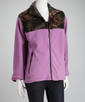 Trail Crest Light Purple Camo Fleece Jacket - Women