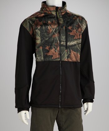 Black Camo Soft-Shell Jacket - Men & Plus