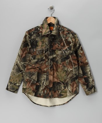Green Camouflage Button-Up - Boys