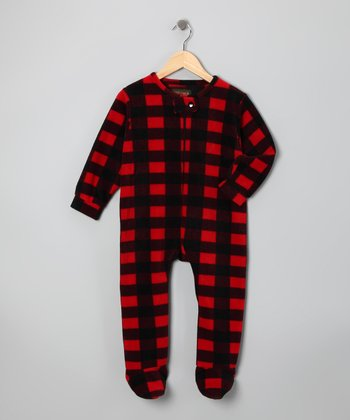 Red Plaid Fleece Footie - Infant, Toddler & Boys