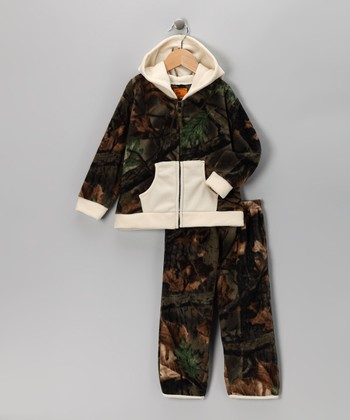 White Camouflage Zip-Up Hoodie & Pants - Infant & Toddler