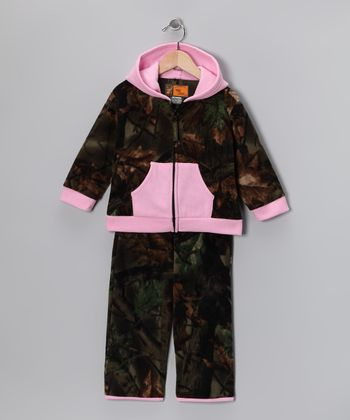 Pink & Olive Camo Zip-Up Hoodie & Pants - Infant & Toddler