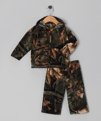 Green Camo Zip-Up Hoodie & Pants - Toddler