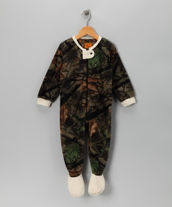 Green & White Camo Fleece Footie - Infant, Toddler & Kids