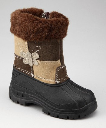 Brown & Beige Butterfly Boot