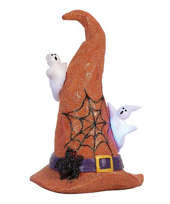Orange LED Witch Hat Figurine