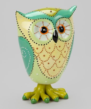 Green Large Owl Figurine