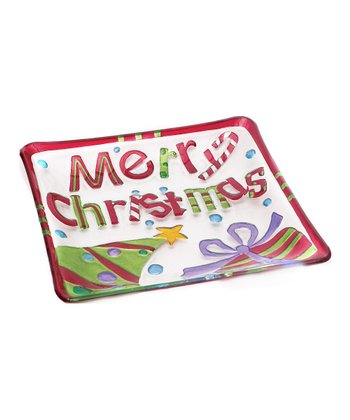 Fused Glass 'Merry Christmas' Holiday Plate