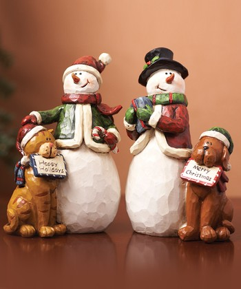 Cat, Dog & Snowman Figurine Set
