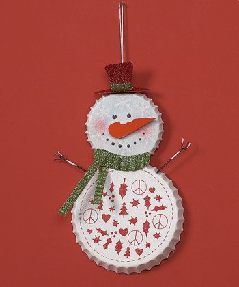 Green Scarf Bottle Cap Snowman Ornament