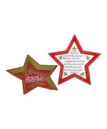 Wooden Star Holiday Tray Set