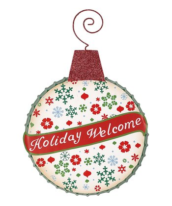 'Holiday Welcome' Ornament Bottle Cap Sign